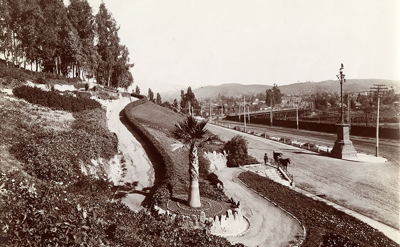 Fremont Gate, Elysian Park, Los Angeles, Views of Los Angeles, California, PC-GS-Photographers-Los Angeles-Putnam & Valentine, California Historical Society